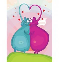 Elephants in love vector