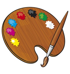 Wooden art palette with paints and paint brush vector