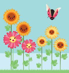 Kawaii flowers and bugs vector