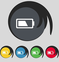 Battery half level icon sign symbol on five vector