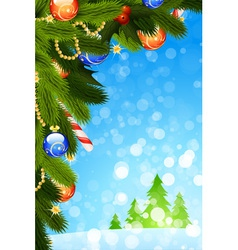 Christmas card with fir tree vector