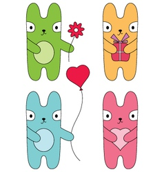 Four bunnies vector