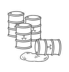 Barrels with dangerous fluid vector