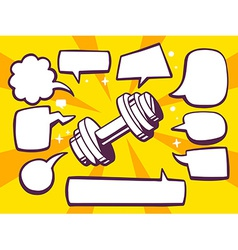 Dumbbell with speech comics bubbles on ye vector