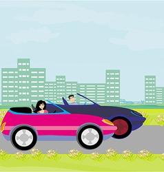 Drive a car on a sunny day vector