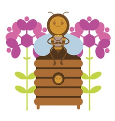 Happy honey bee vector