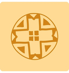Celtic circular geometric pattern on a yellow back vector