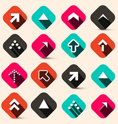 Retro arrows set in squares isolated on retro vector