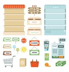 Supermarket elements set vector