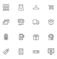 Set of thin line business and shopping icons vector