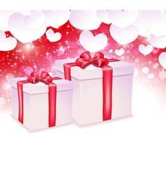 Glowing background with two gift box vector