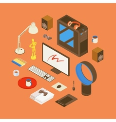 Isometric items from the digital artist workplace vector