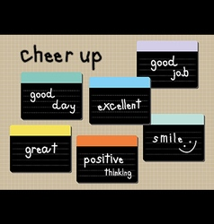 Cheer up wording post it vector