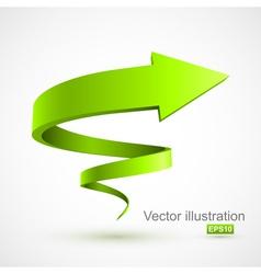 Green spiral arrow 3d vector