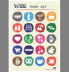 Food icons set drawn by chalk vector