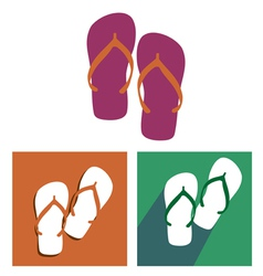 Beach slippers icon set vector