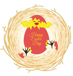Bird nest and egg for easter day greeting card vector