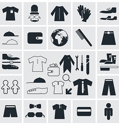 Clothes - fashion square flat icons vector