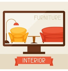 With computer and furniture in retro style vector