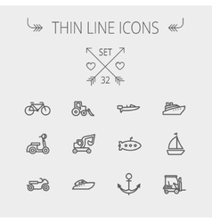 Transportation thin line icon set vector