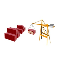 Red cargo container being hoisted by a crane vector