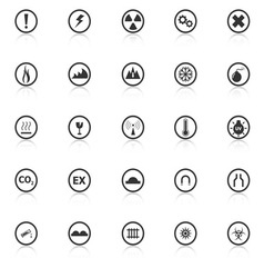 Warning sign icons with reflect on white vector