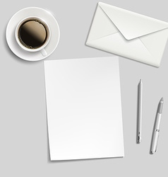 Sheet of paper envelope pen and cup of coffee on vector