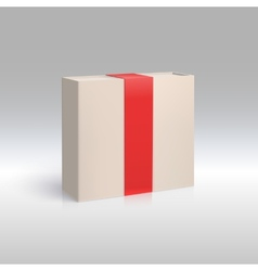 Vertical box with red ribbon vector