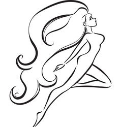 Slender girl with long thick hair vector