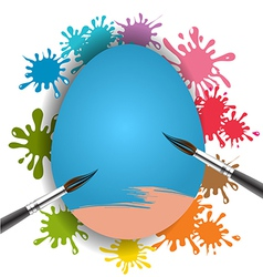 Blue egg and brush on colorful paint splash vector