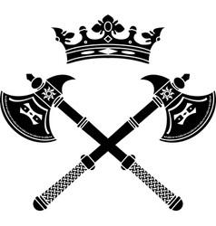 Fantasy axes and crown vector