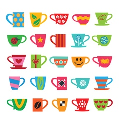 Set of colorful cups vector