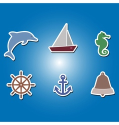 Color icons with marine recreation symbols vector