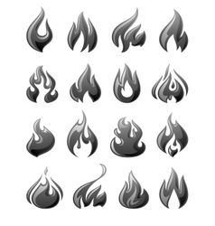 Fire flames set 3d gray icons vector