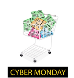 Computer motherboard in cyber monday shopping cart vector