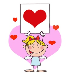 Cupid girl with banner heart vector
