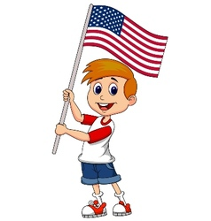 Cute boy cartoon waving with american flag vector