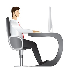 Man working at computer vector