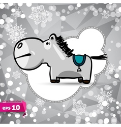 Cartoon horse symbol of 2014 winter backdrop vector