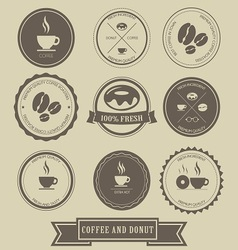 Coffee and donut label design vector