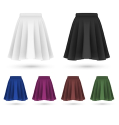 Pleated skirt template set vector