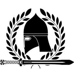 Fantasy barbarian sword and helmet vector