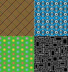 Seamless patterns set 7 abstract colorful vector