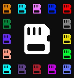 Compact memory card icon sign lots of colorful vector