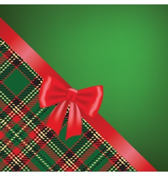 Christmas card with red ribbon bow and tartan vector