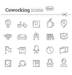 Coworking icons set stock vector