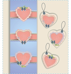Heart labels collection vector