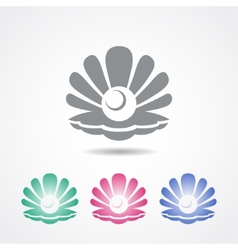 Shell icon with a pearl in different colors vector