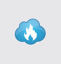 Blue cloud fire icon vector