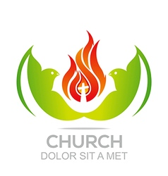Logo fire rescue church christ savior religion vector